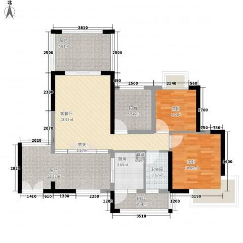 中央公园2室1厅1卫1厨85.00㎡户型图