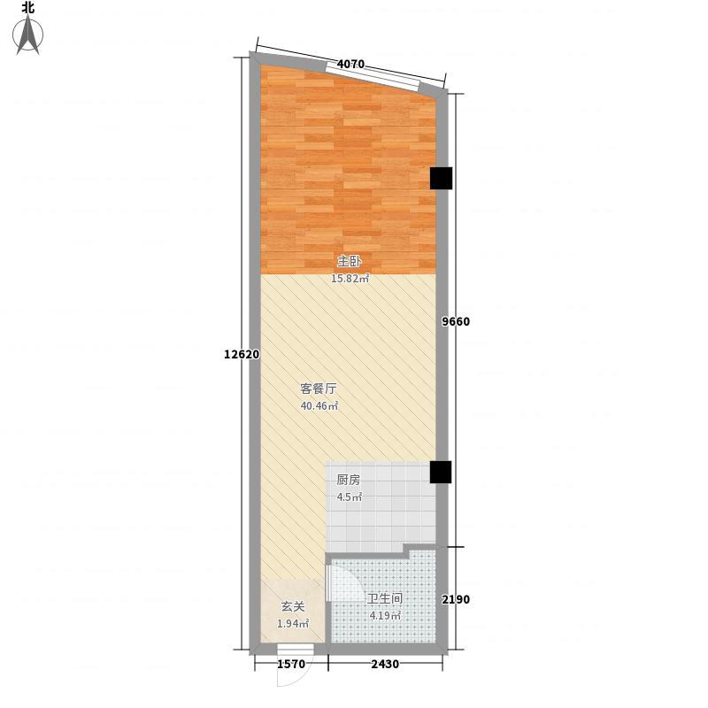 富利湾62.00㎡D户型1室1厅1卫1厨