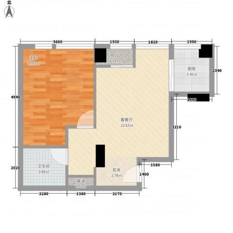常青藤单身公寓1室1厅1卫1厨54.00㎡户型图