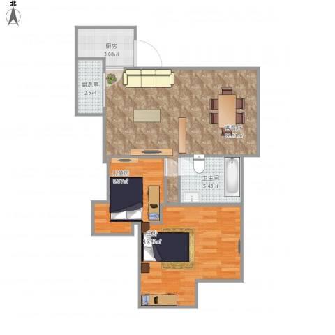 枫林绿洲A9公馆2室2厅1卫1厨84.00㎡户型图