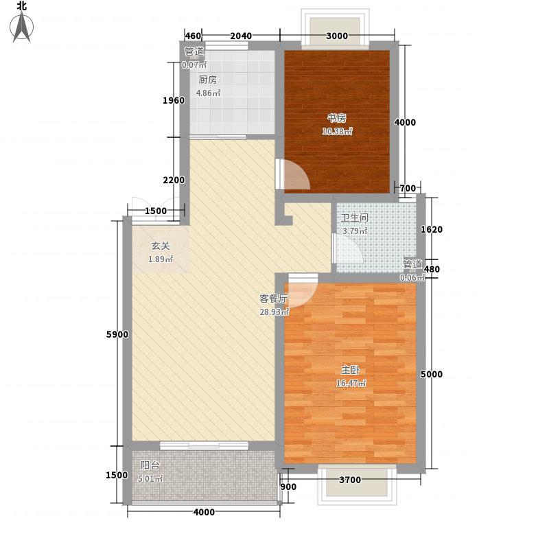 山海逸居8.00㎡五层洋房标准层户型2室2厅1卫1厨