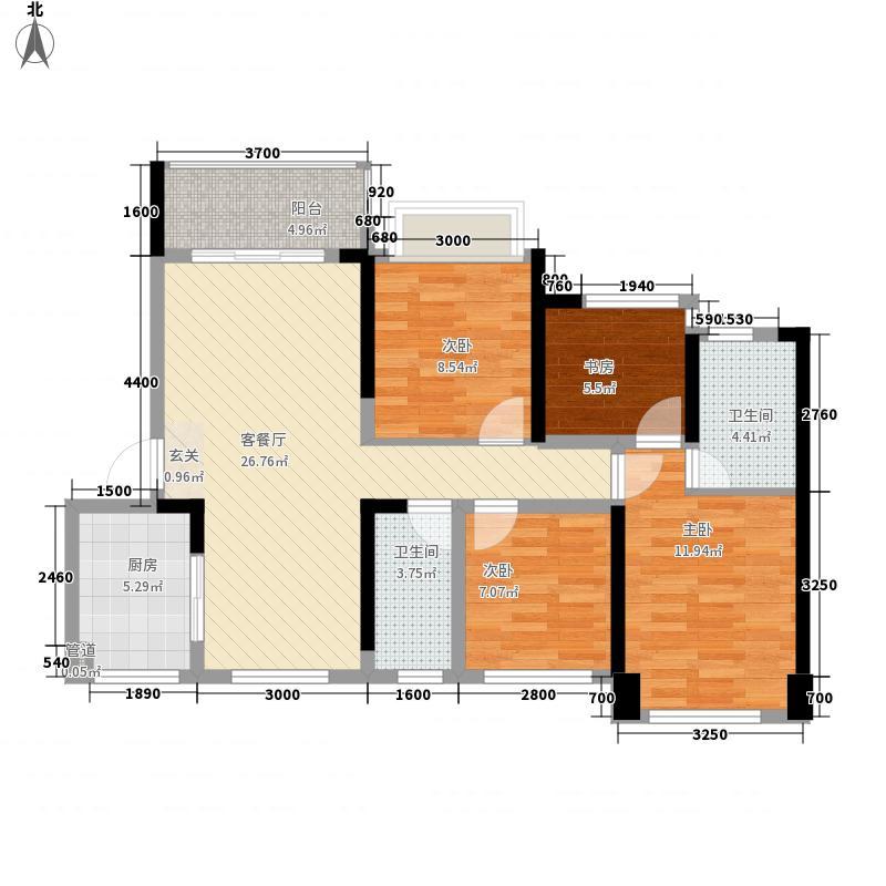 华盛・观荟88.00㎡A户型3室2厅2卫1厨