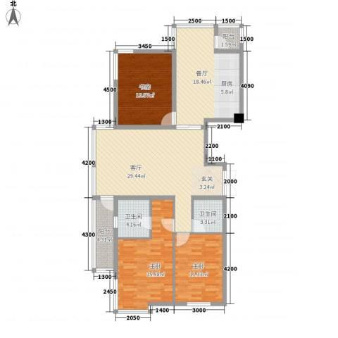 环宇世纪星城3室2厅2卫0厨136.00㎡户型图