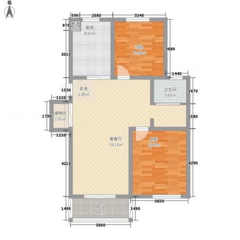 鑫四海花园2室1厅1卫1厨108.00㎡户型图