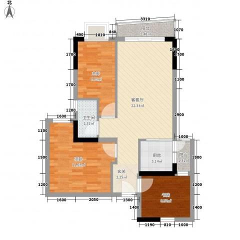 曼哈顿国际公寓3室1厅1卫1厨83.00㎡户型图