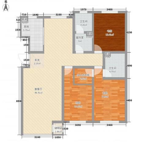 首府国际公馆3室2厅2卫1厨150.00㎡户型图