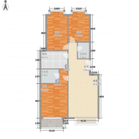 当代名筑3室1厅2卫1厨102.50㎡户型图