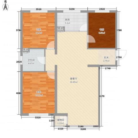 首府国际公馆3室1厅1卫1厨121.00㎡户型图