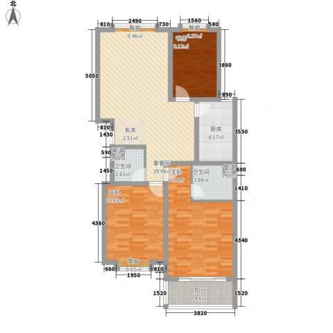 帝苑东领鉴筑3室1厅2卫1厨126.00㎡户型图
