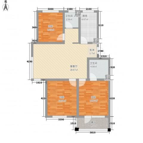 城南春晓3室1厅2卫1厨119.00㎡户型图