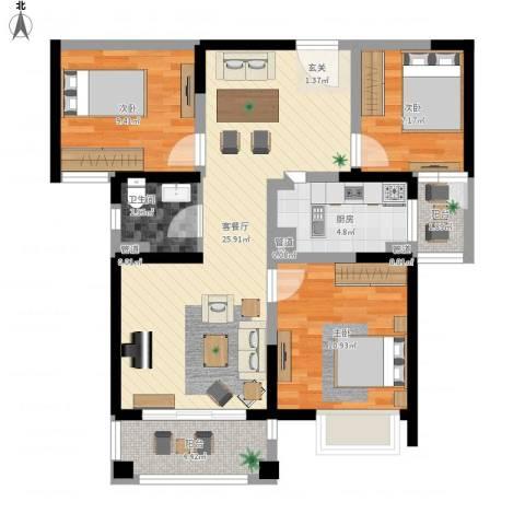 平岗星苑3室1厅1卫1厨100.00㎡户型图