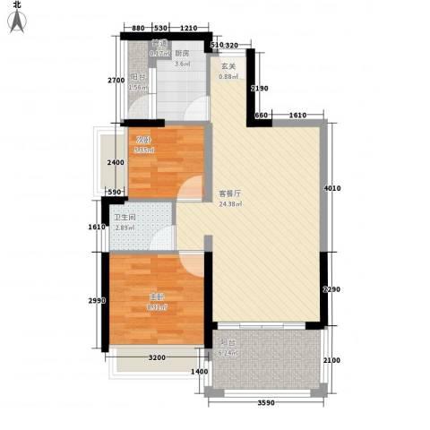中央公园2室1厅1卫1厨73.00㎡户型图
