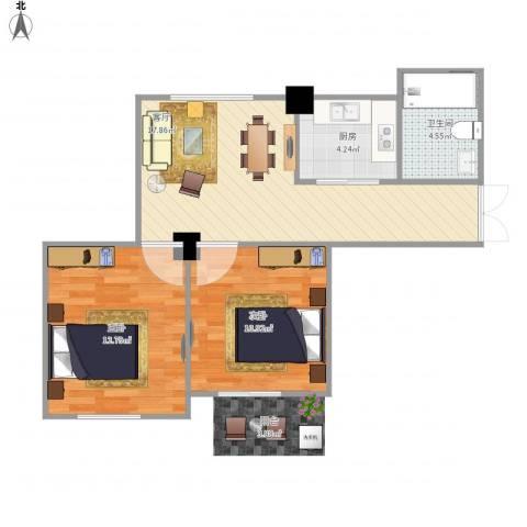 庐山花园小区2室1厅1卫1厨69.00㎡户型图