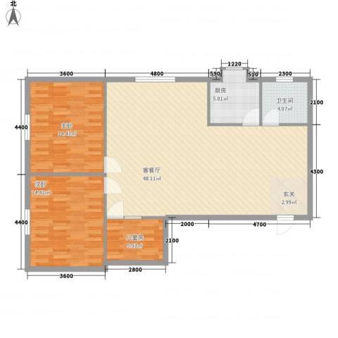 五中宿舍3室1厅1卫1厨124.00㎡户型图