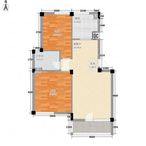 长城都市阳光2室1厅1卫1厨83.00㎡户型图