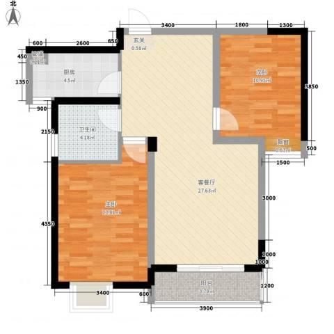 金阳苑2室1厅1卫1厨93.00㎡户型图