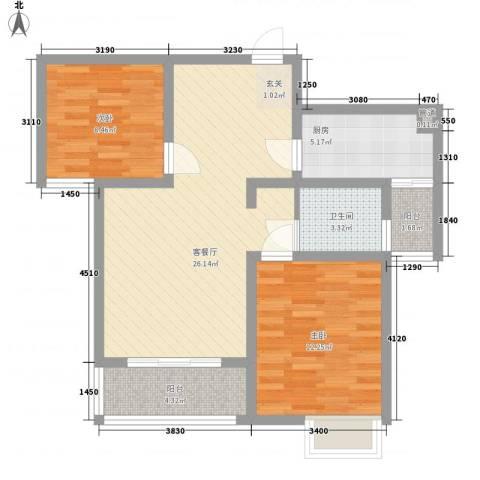 锦绣前城彩园2室1厅1卫1厨90.00㎡户型图
