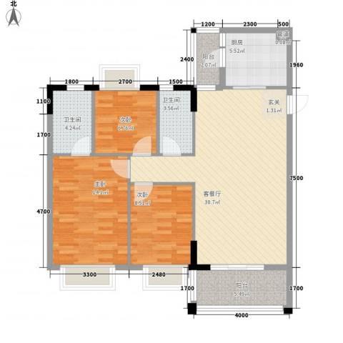 名雅豪庭3室1厅2卫1厨81.04㎡户型图