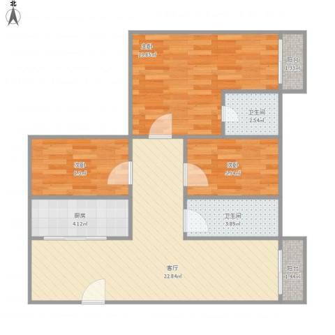二城心作3室1厅2卫1厨85.00㎡户型图