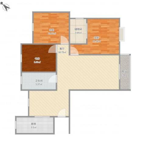 瑞鑫家园3室1厅1卫1厨136.00㎡户型图