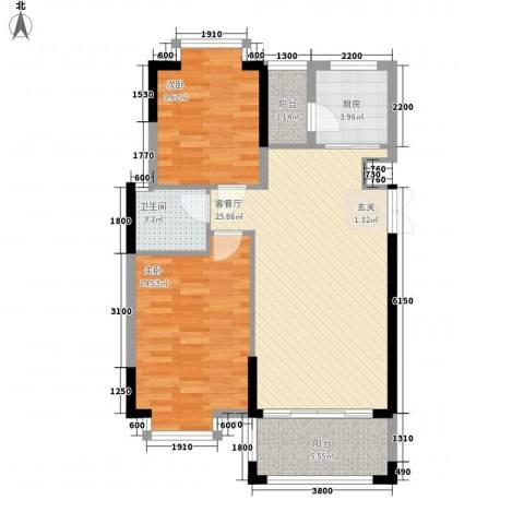 金碧苑2室1厅1卫1厨81.00㎡户型图
