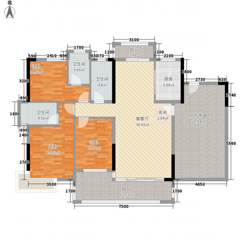 恩平御景湾136.00㎡9、10座01/03单元户型3室2厅3卫1厨