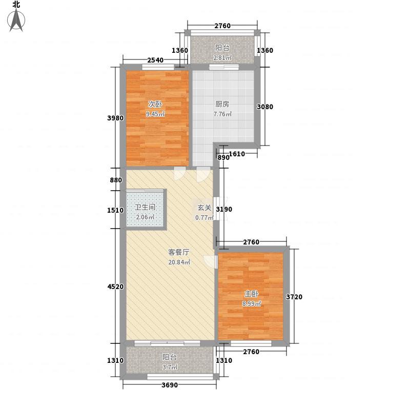 紫金宫庭80.39㎡紫金宫庭户型图P户型2室1厅1卫1厨户型2室1厅1卫1厨