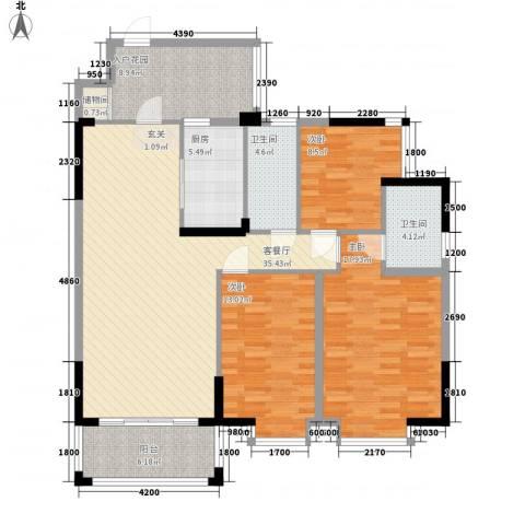 金碧苑3室1厅2卫1厨124.00㎡户型图