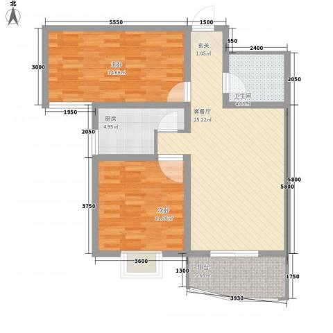 义井佳园琳珑苑2室1厅1卫1厨66.34㎡户型图