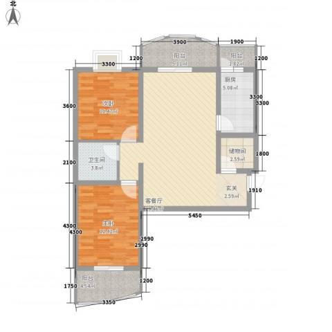 义井佳园琳珑苑2室1厅1卫1厨75.29㎡户型图