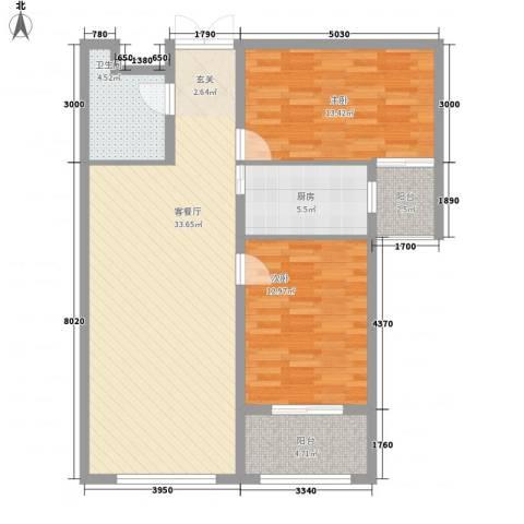 格兰小镇二期2室1厅1卫1厨77.27㎡户型图
