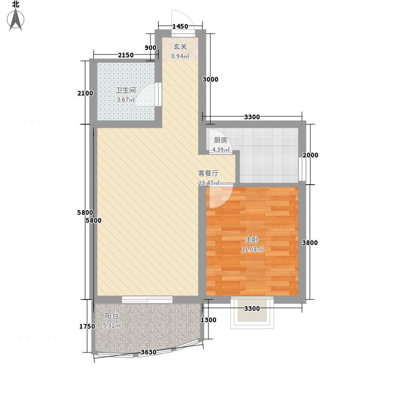 义井佳园琳珑苑68.00㎡D3户型1室2厅1厨