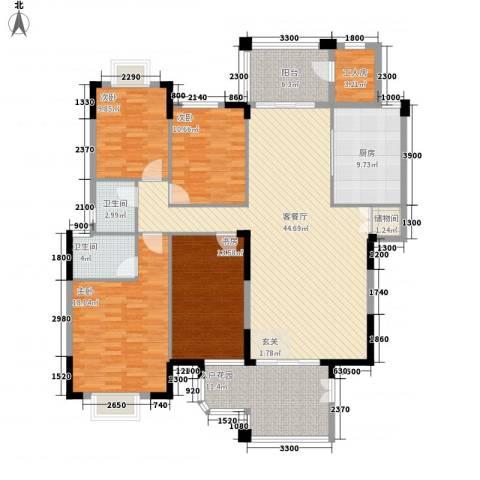 鸿升大厦4室1厅2卫1厨135.81㎡户型图