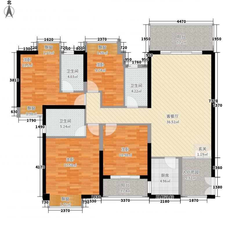 天泽江鼎户型图41#45#08单元E户型4房2厅3卫1厨174㎡ 4室2厅3卫1厨
