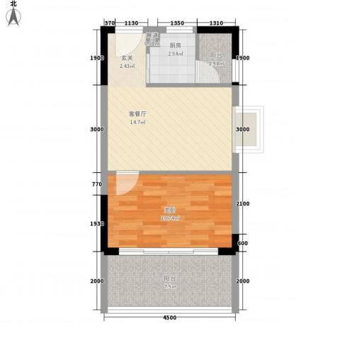 城市一号公寓1室1厅0卫1厨38.00㎡户型图