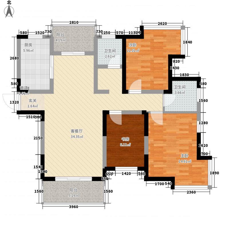 徽商春天11.20㎡高层4#楼E户型3室2厅2卫1厨