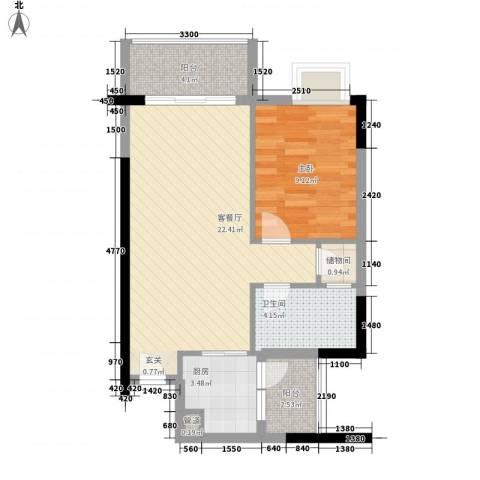 城蕊首府1室1厅1卫1厨63.00㎡户型图