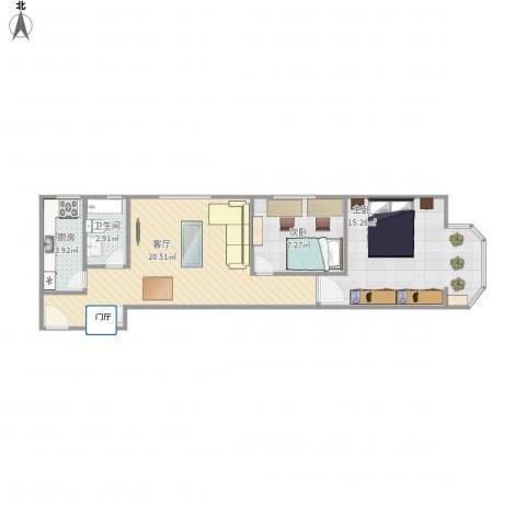 和平里中街3号院2室1厅1卫1厨68.00㎡户型图