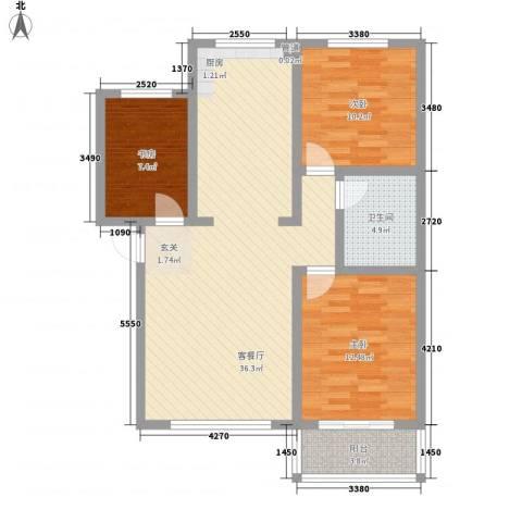 戴河新城3室1厅1卫0厨75.09㎡户型图