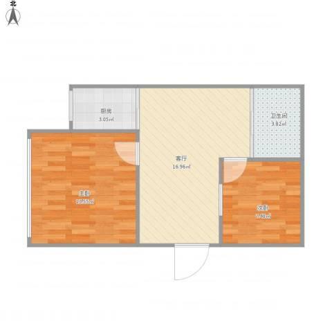 星宇名家2室1厅1卫1厨61.00㎡户型图