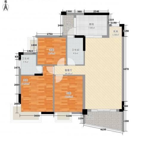 鸿业自由港3室1厅2卫1厨93.17㎡户型图