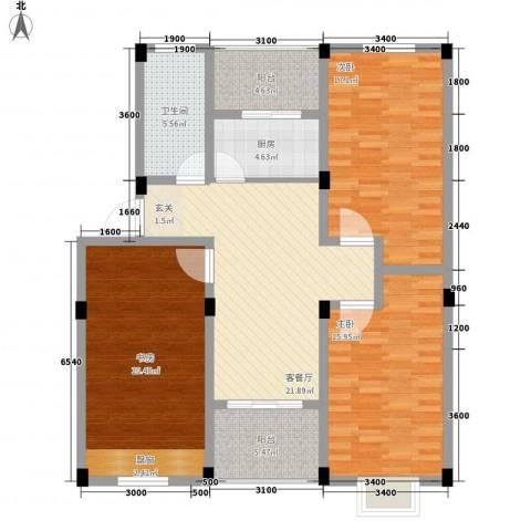 嘉元玉兰庭3室1厅1卫1厨112.00㎡户型图
