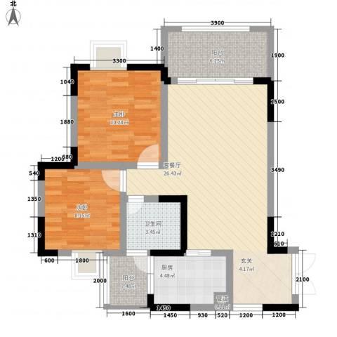 鸿业自由港2室1厅1卫1厨68.00㎡户型图
