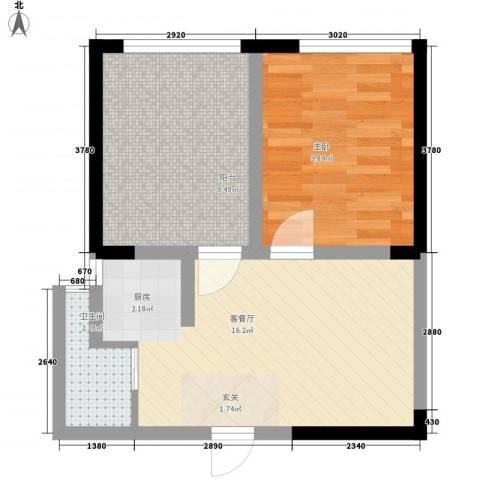 美桐1号公寓项目1室1厅1卫0厨58.00㎡户型图
