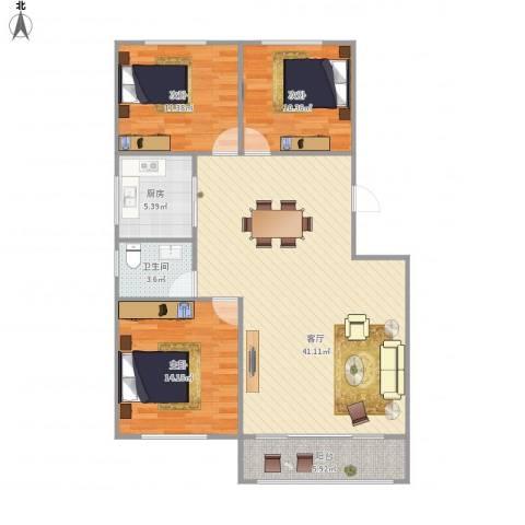汇贤居3室1厅1卫1厨122.00㎡户型图