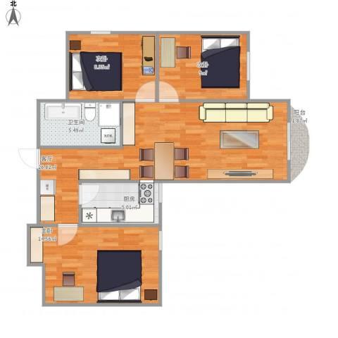 亚运豪庭3室1厅1卫1厨94.00㎡户型图