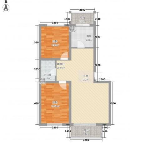 东大智慧森邻2室1厅1卫1厨86.00㎡户型图