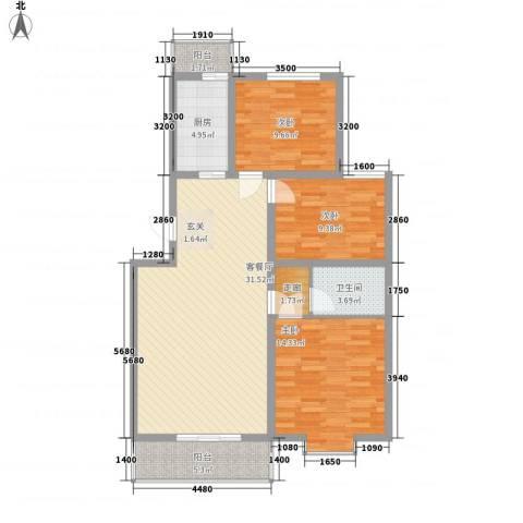 龙云家园3室1厅1卫1厨117.00㎡户型图