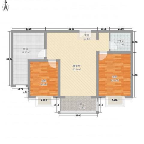青秀家园2室1厅1卫1厨70.95㎡户型图