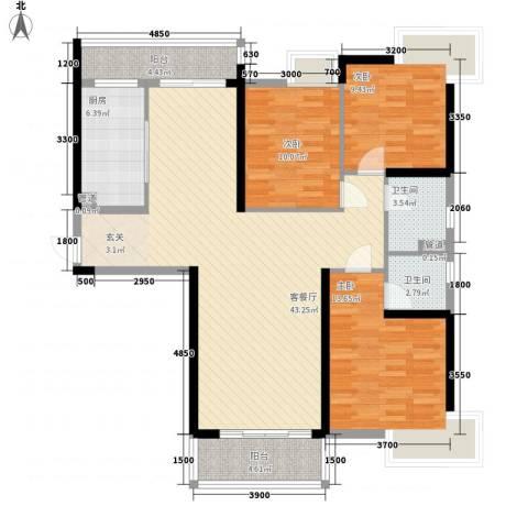 开平海逸华庭3室1厅2卫1厨133.00㎡户型图